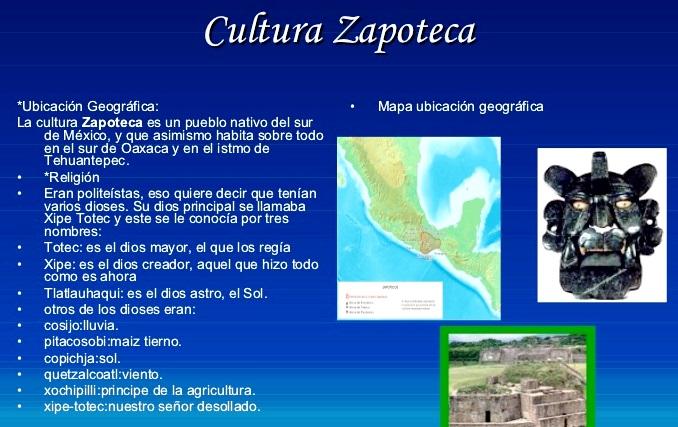 Características de la cultura Zapoteca